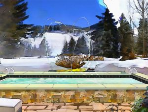 Rendering of a pool with snowy mountains in the background.