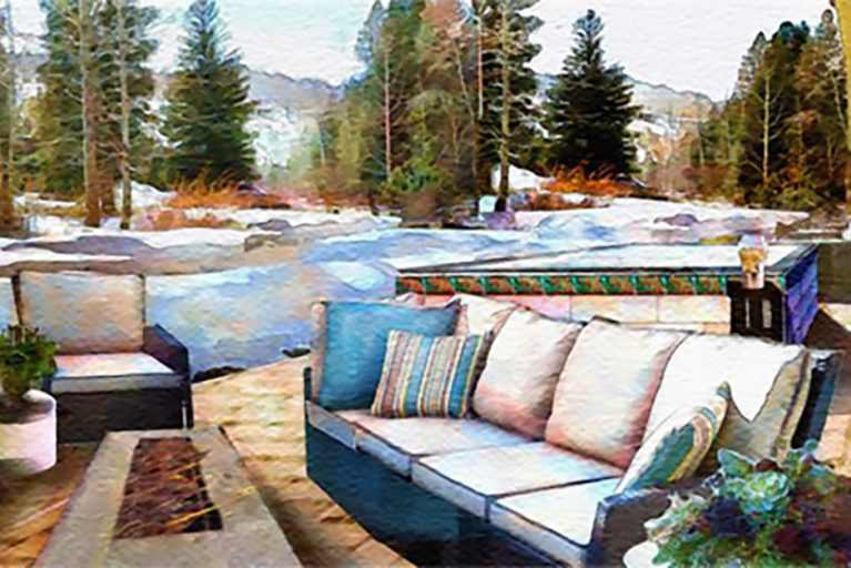 Watercolor paining of an outdoor seating and fire pit surrounded by snow and pine trees.