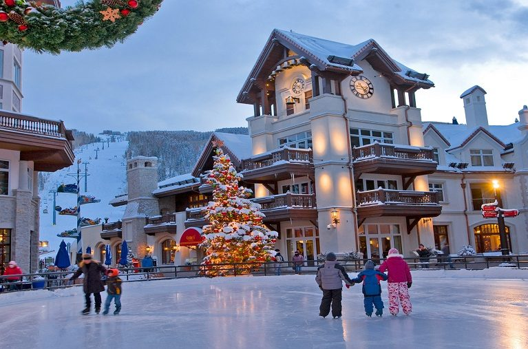 Ice skating in Vail Village