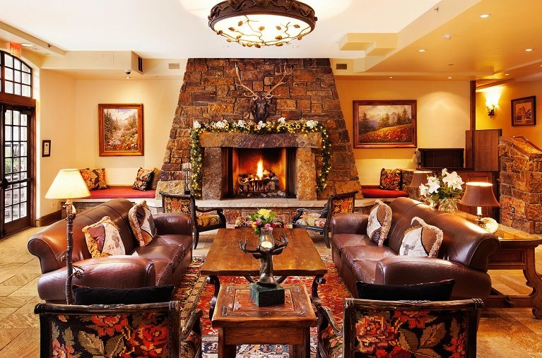 Main lobby with stone fireplace