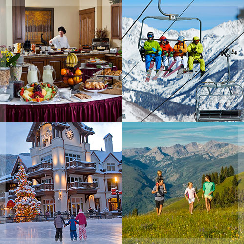 Collage of kitchen, ski lift, ice skating rink, and family in the mountains in spring