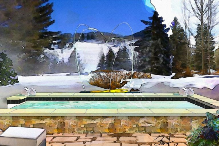Rendering photo of a steaming hot tub with snow covered pine trees in the background.